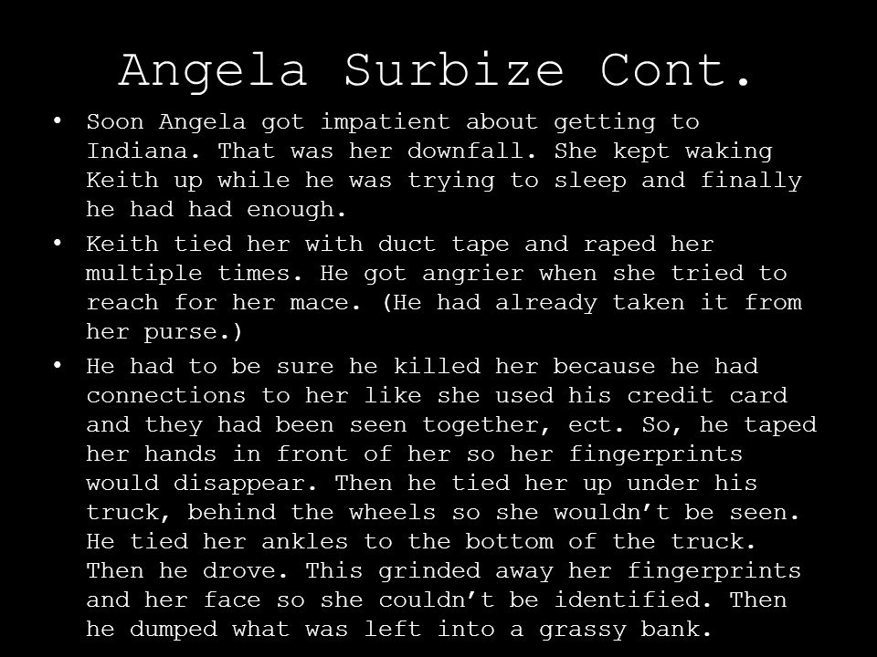 Angela Surbize Cont.