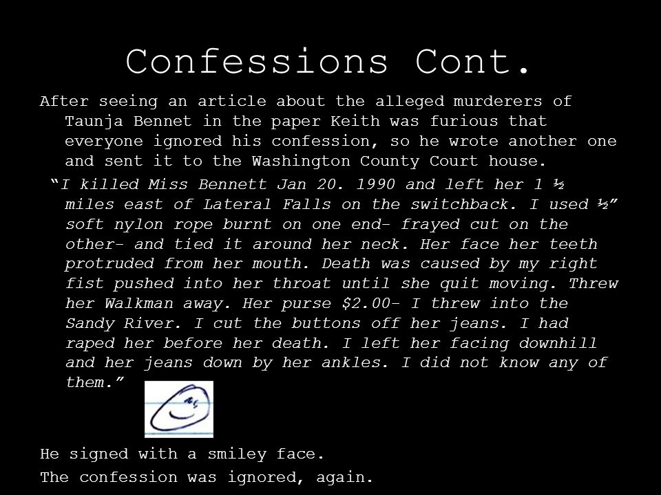 Confessions Cont.