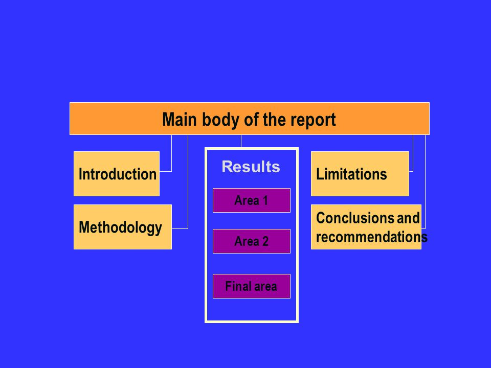 Main body of the report Introduction Results Limitations Methodology