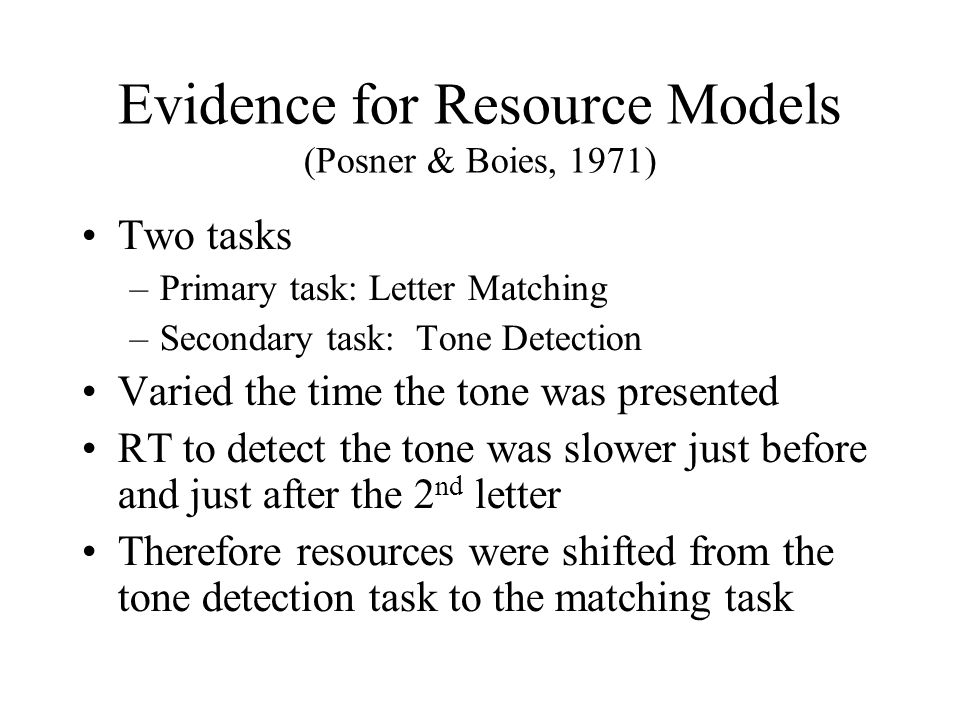 Evidence for Resource Models (Posner & Boies, 1971)