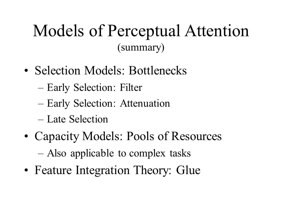 Models of Perceptual Attention (summary)