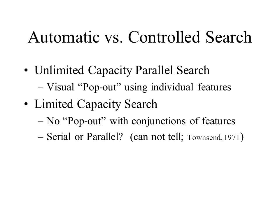 Automatic vs. Controlled Search