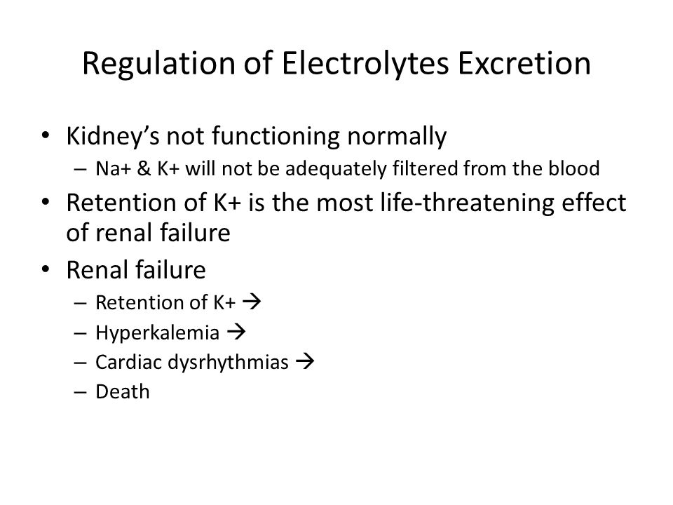 Regulation of Electrolytes Excretion