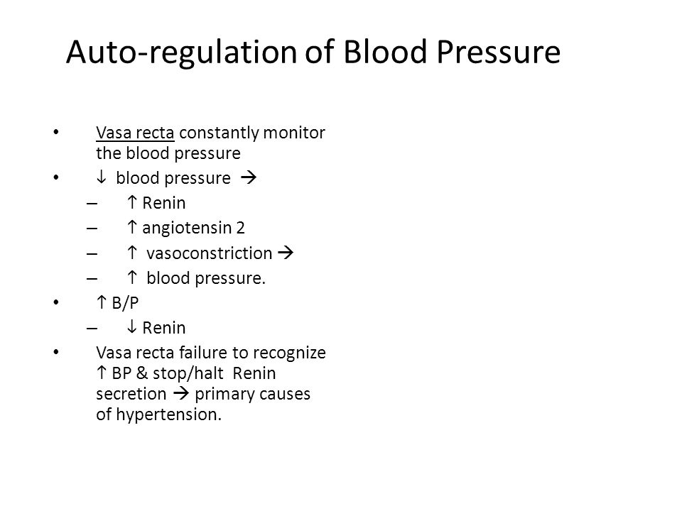 Auto-regulation of Blood Pressure