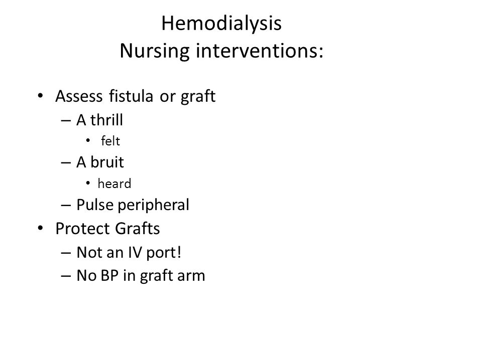 Hemodialysis Nursing interventions: