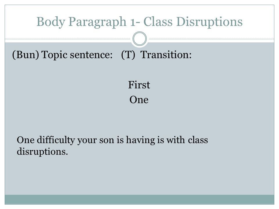 Body Paragraph 1- Class Disruptions