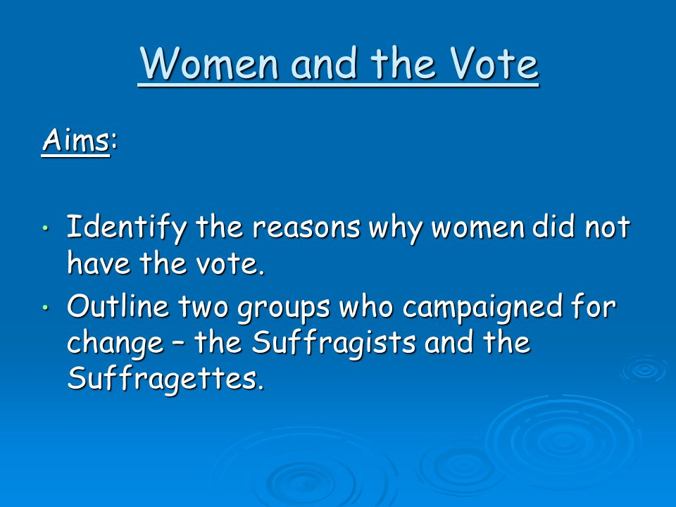 Women and the Vote Aims: