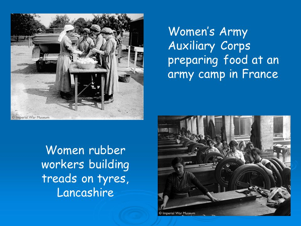 Women rubber workers building treads on tyres, Lancashire