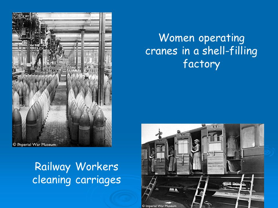 Women operating cranes in a shell-filling factory