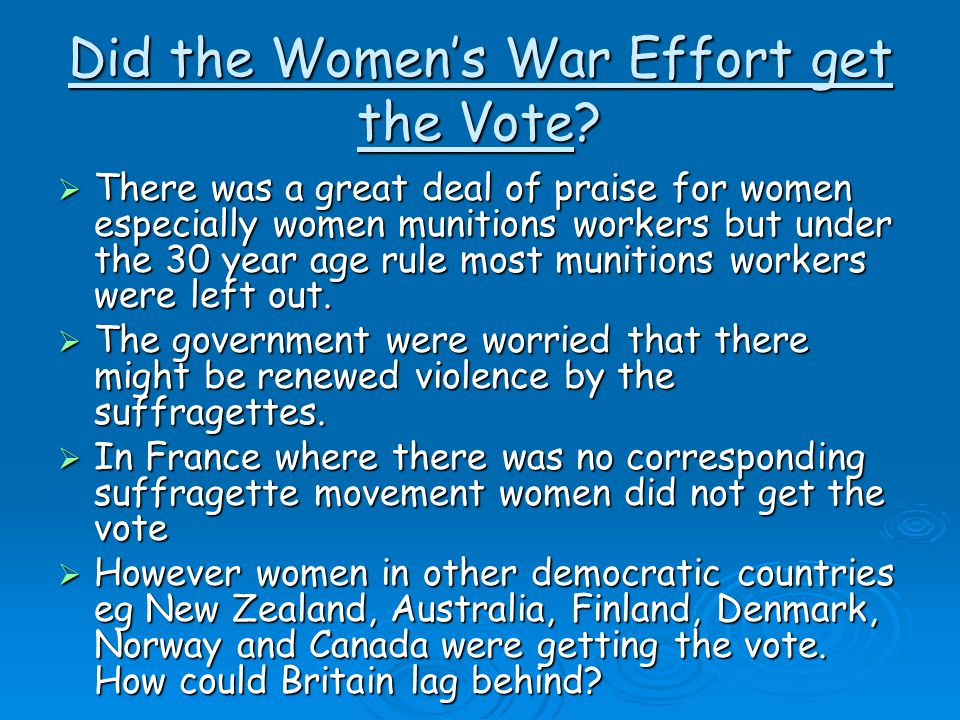 Did the Women's War Effort get the Vote