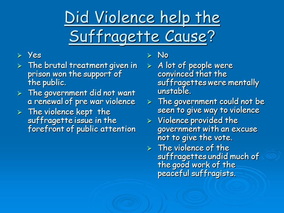 Did Violence help the Suffragette Cause