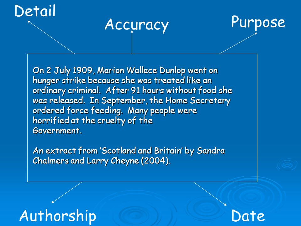 Detail Purpose Accuracy Authorship Date