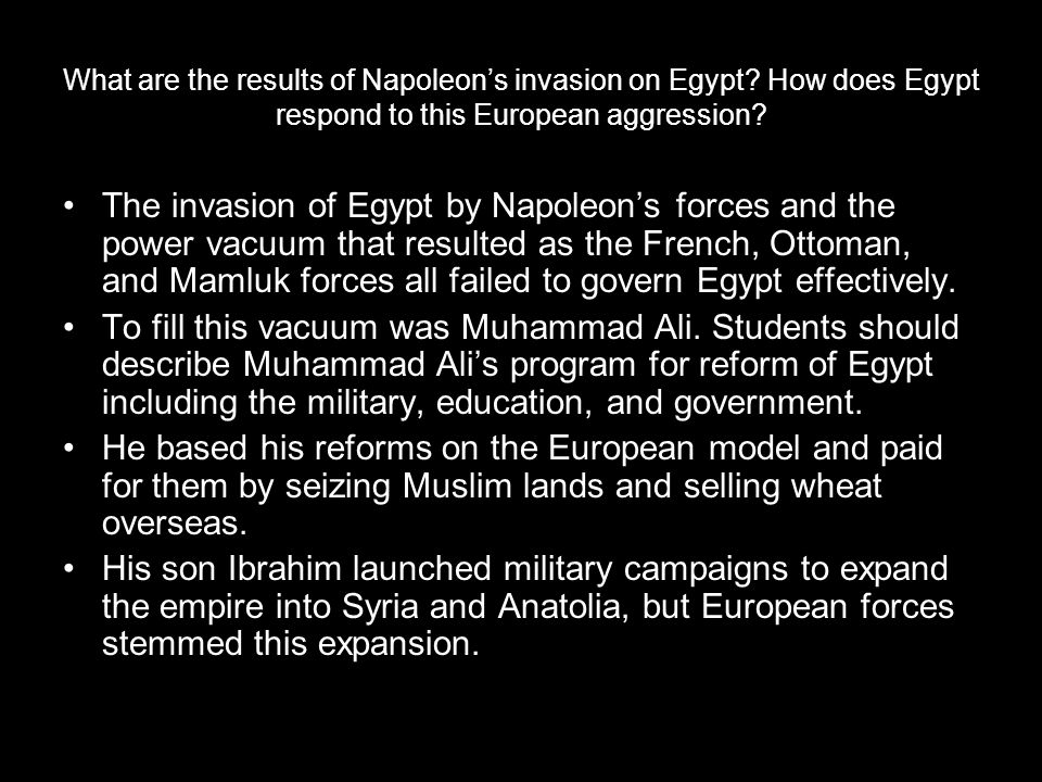 What are the results of Napoleon's invasion on Egypt