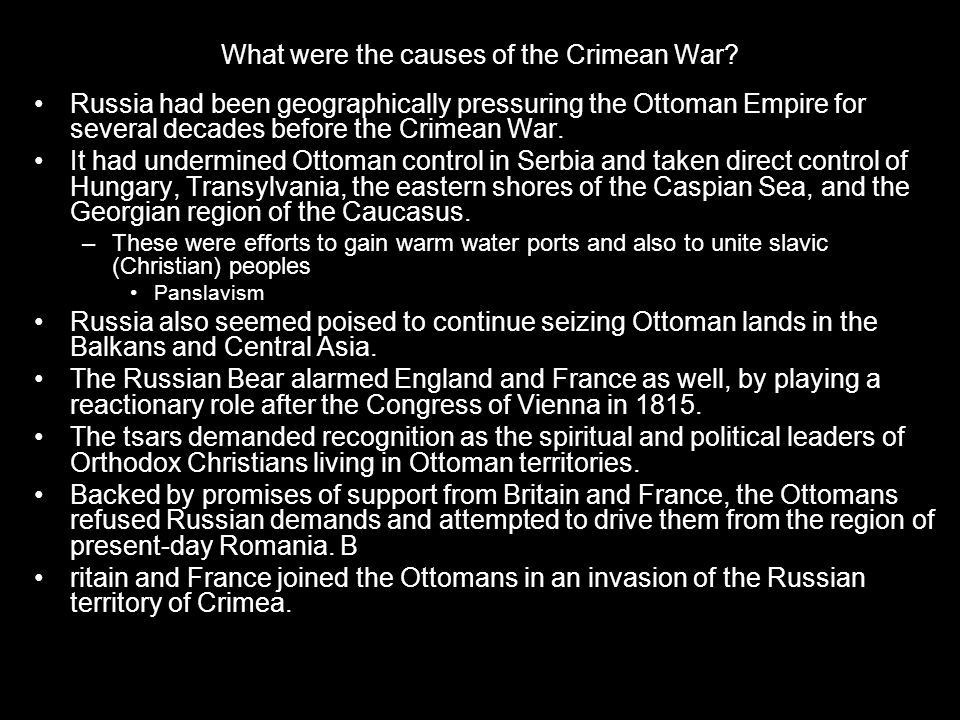 What were the causes of the Crimean War