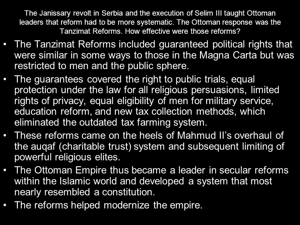 The reforms helped modernize the empire.