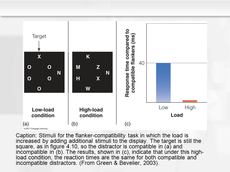 Caption: Stimuli for the flanker-compatibility task in which the load is increased by adding additional stimuli to the display.