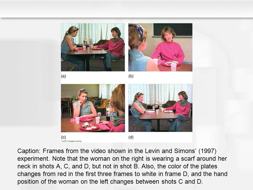 Caption: Frames from the video shown in the Levin and Simons' (1997) experiment.