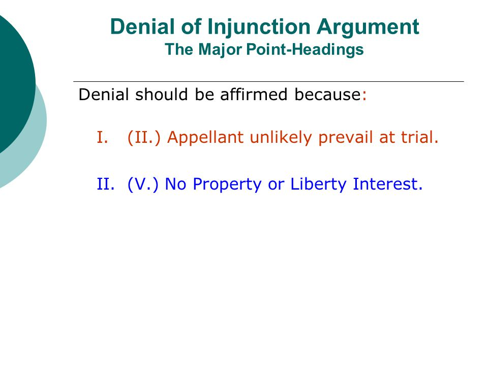 Denial of Injunction Argument The Major Point-Headings
