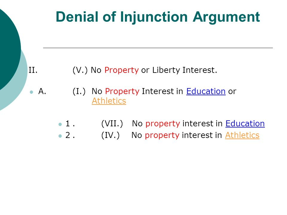 Denial of Injunction Argument