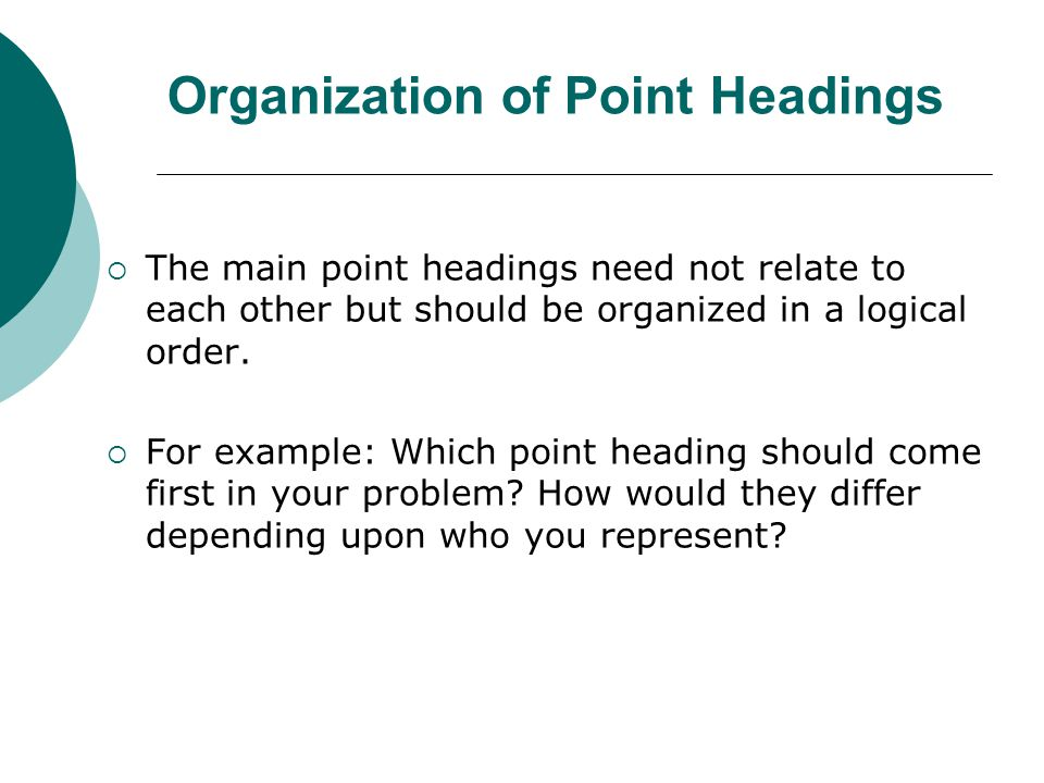 Organization of Point Headings