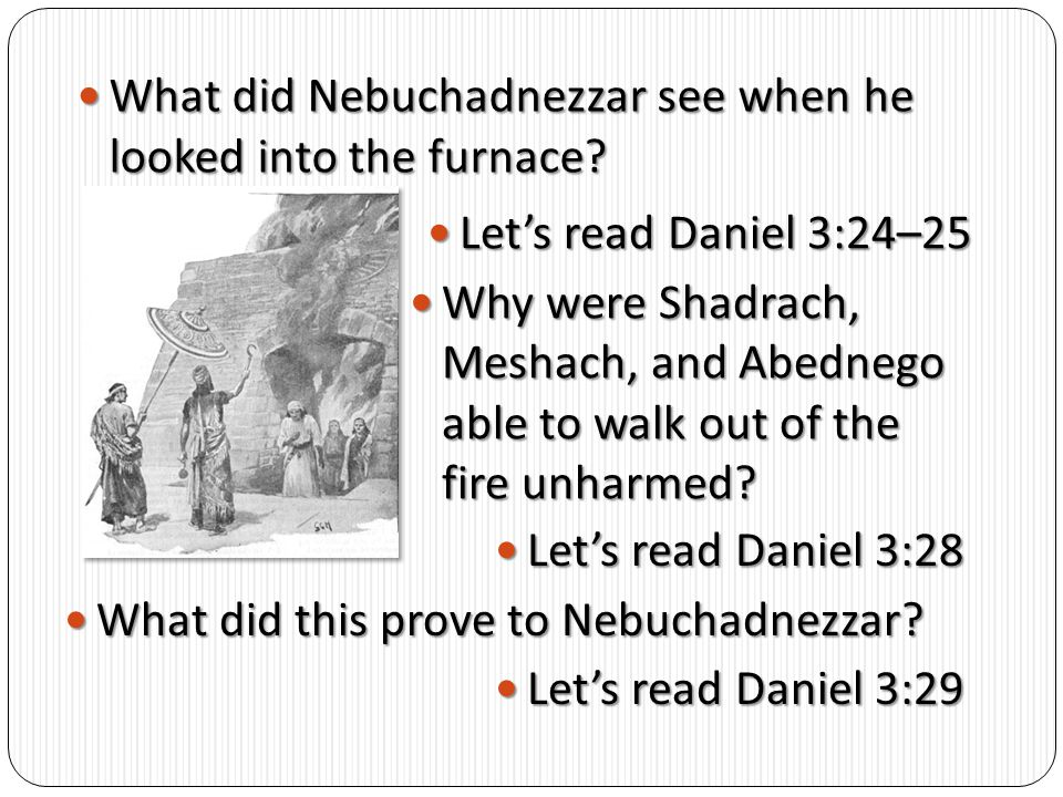 What did Nebuchadnezzar see when he looked into the furnace
