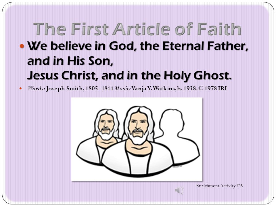 The First Article of Faith