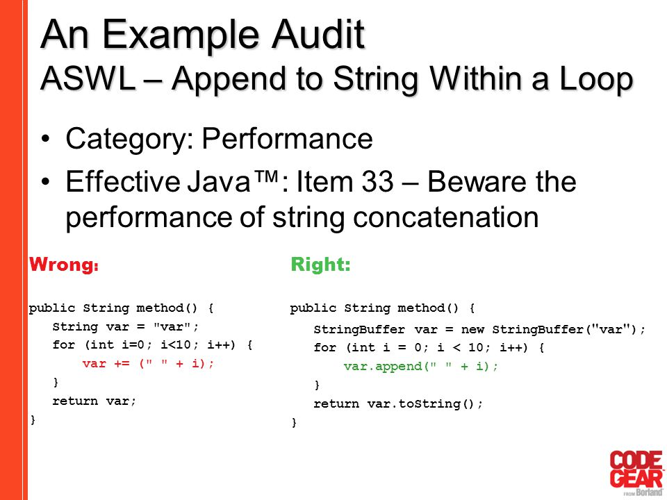 An Example Audit ASWL – Append to String Within a Loop