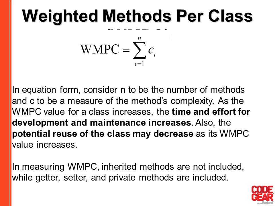 Weighted Methods Per Class (WMPC)