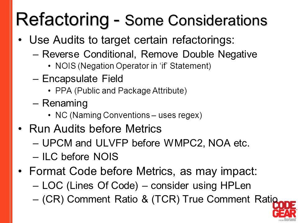 Refactoring - Some Considerations