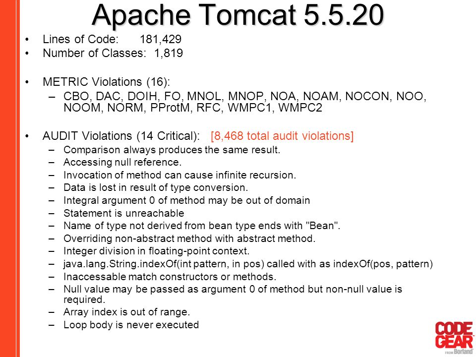 Apache Tomcat 5.5.20 Lines of Code: 181,429 Number of Classes: 1,819