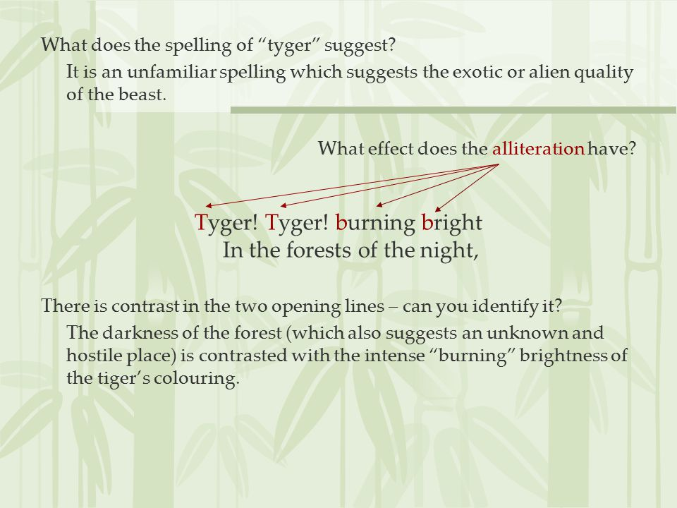 Tyger! Tyger! burning bright In the forests of the night,