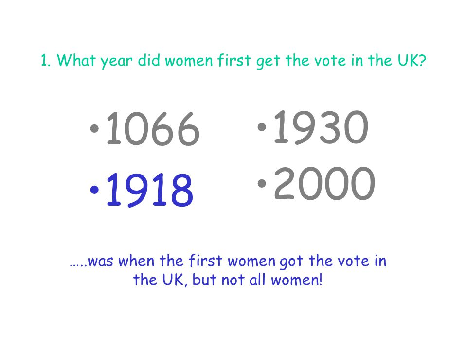 1. What year did women first get the vote in the UK