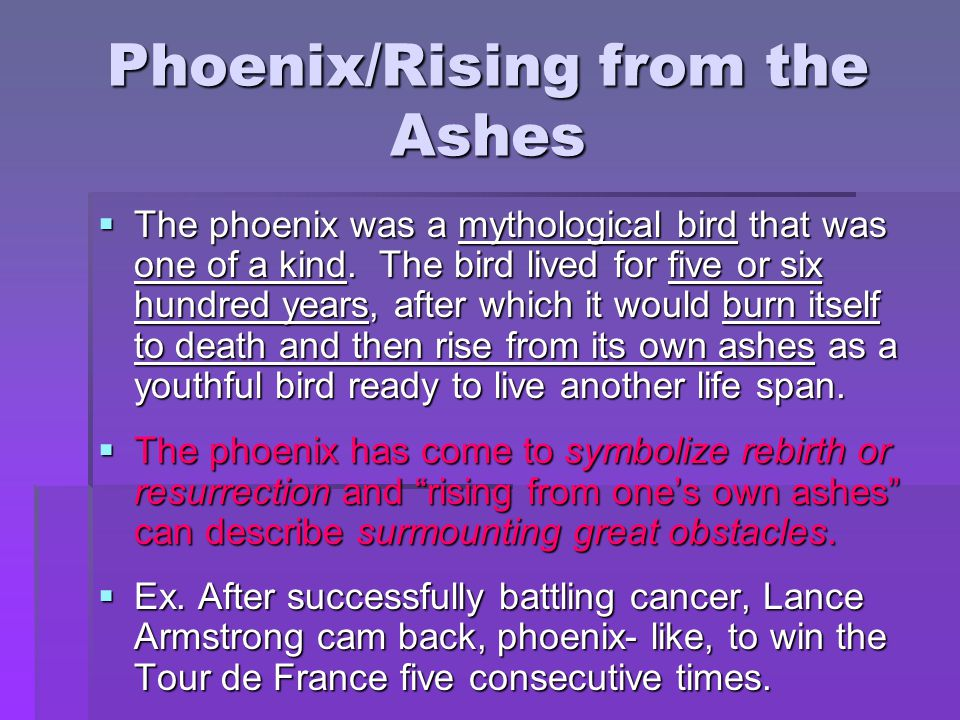 Phoenix/Rising from the Ashes