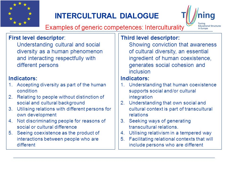 Examples of generic competences: Interculturality