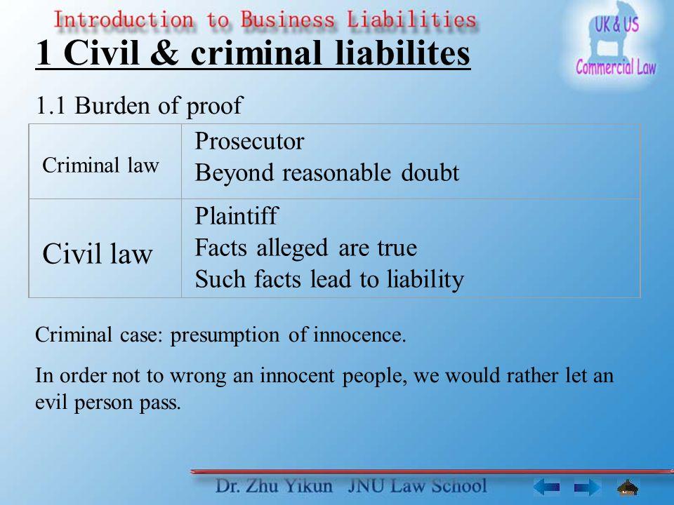 1 Civil & criminal liabilites