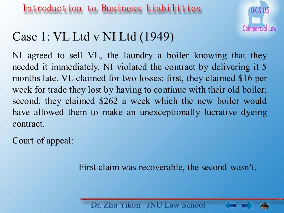 Case 1: VL Ltd v NI Ltd (1949)