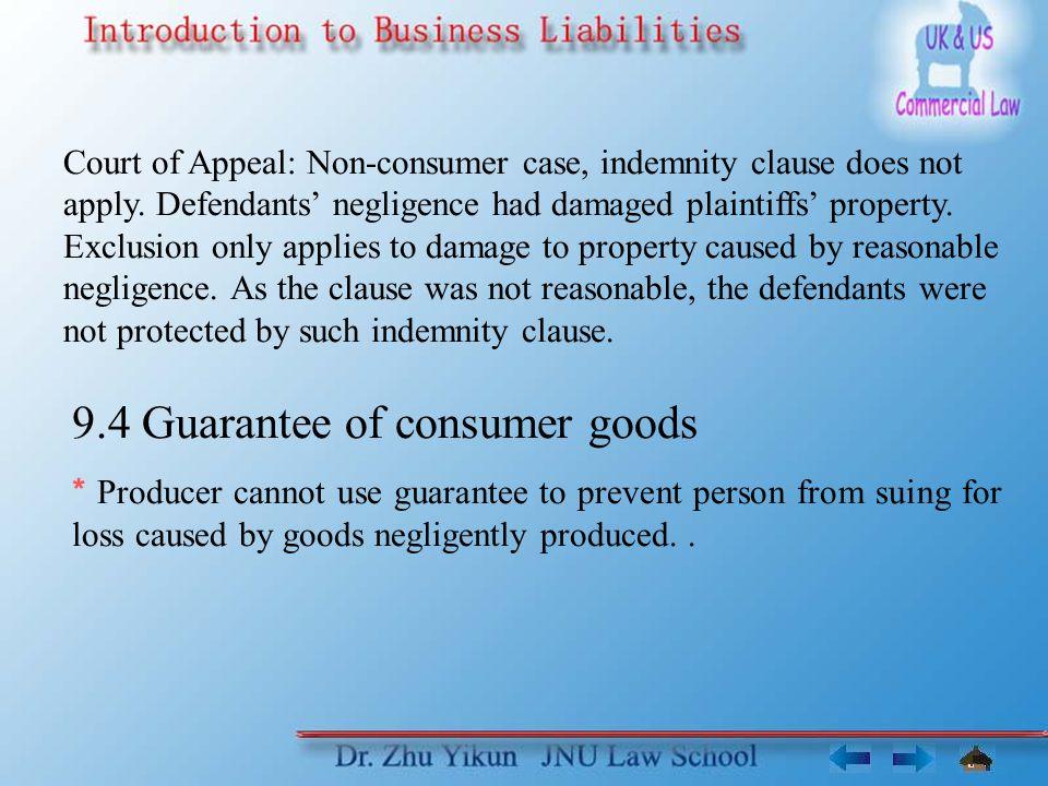 9.4 Guarantee of consumer goods