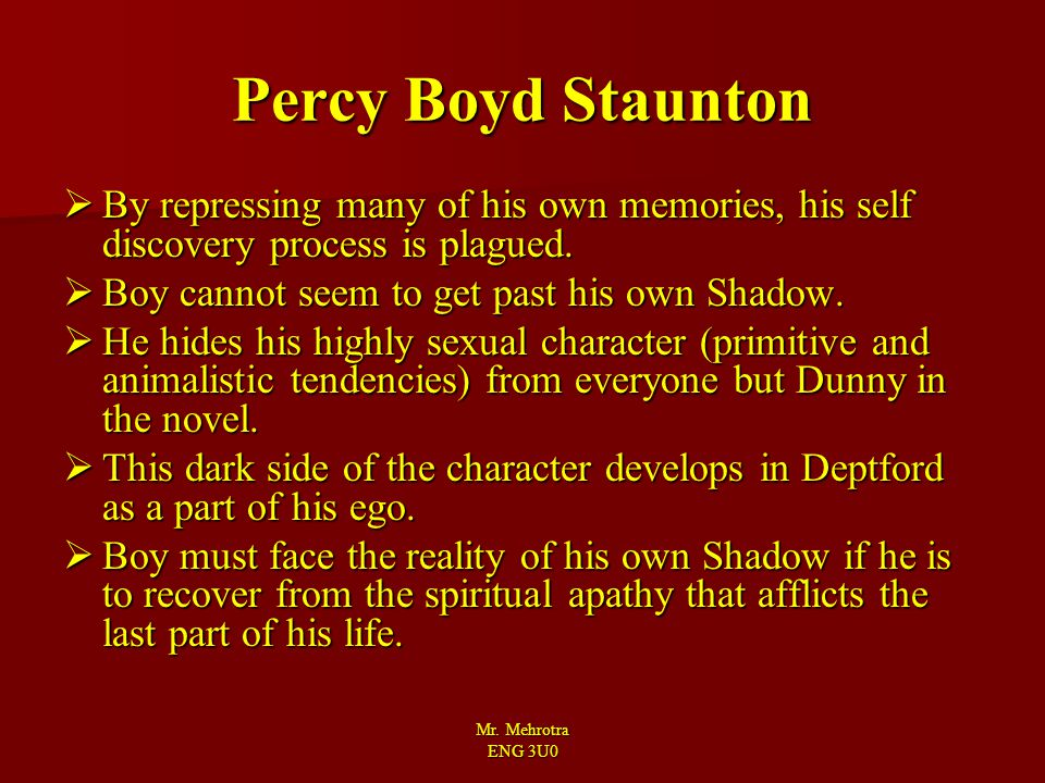 Percy Boyd Staunton By repressing many of his own memories, his self discovery process is plagued. Boy cannot seem to get past his own Shadow.