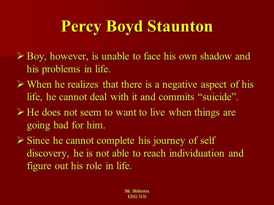 Percy Boyd Staunton Boy, however, is unable to face his own shadow and his problems in life.