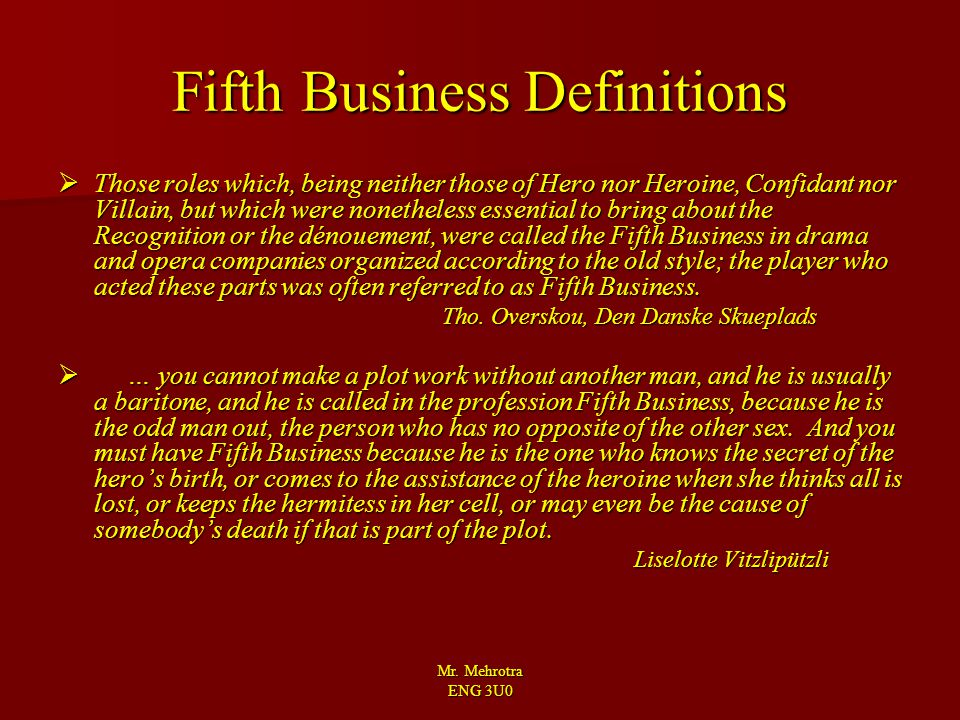 Fifth Business Definitions