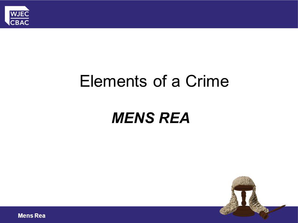 Elements of a Crime MENS REA Mens Rea