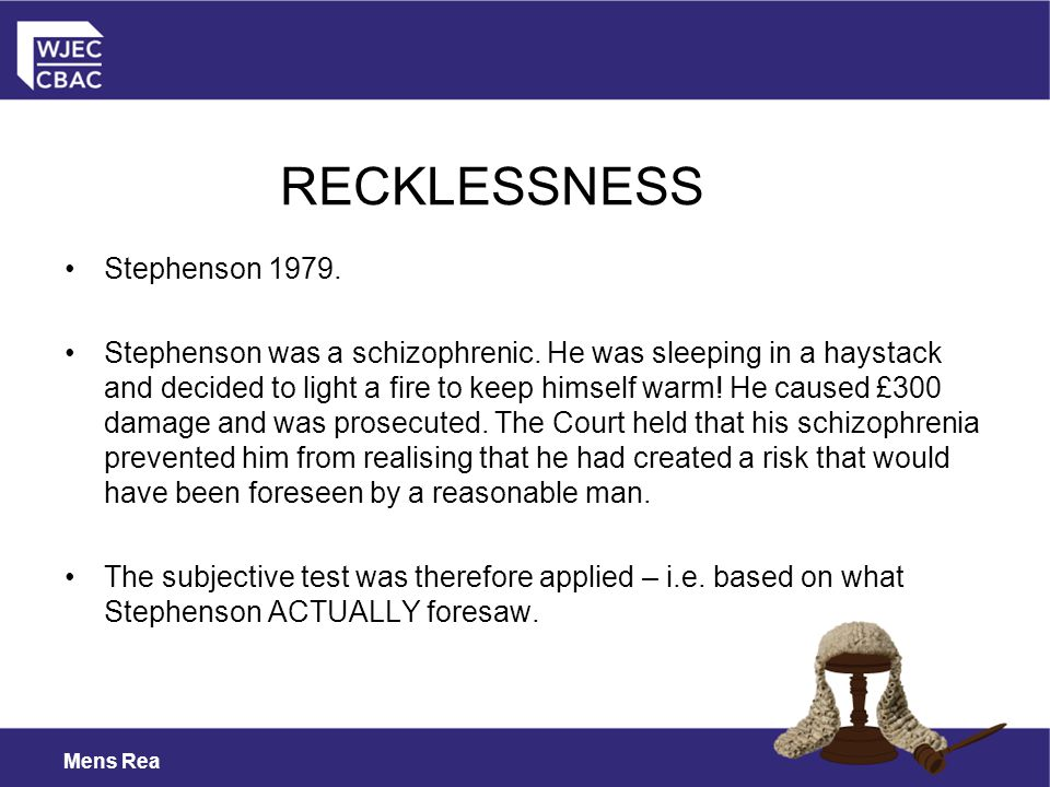 RECKLESSNESS Stephenson 1979.