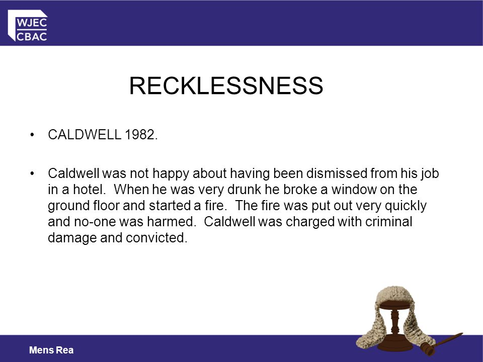 RECKLESSNESS CALDWELL 1982.