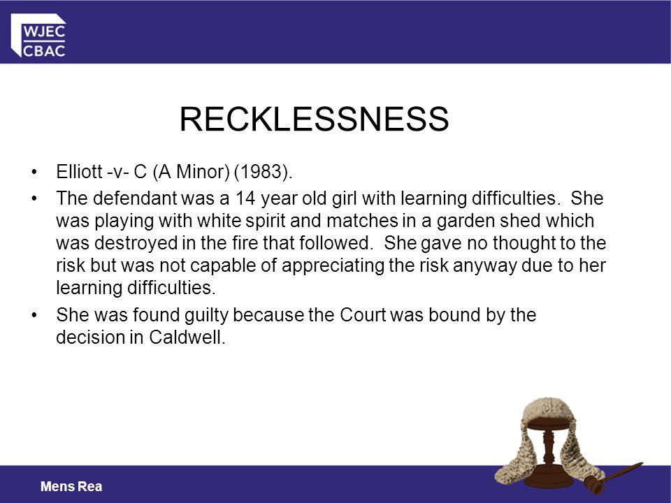 RECKLESSNESS Elliott -v- C (A Minor) (1983).