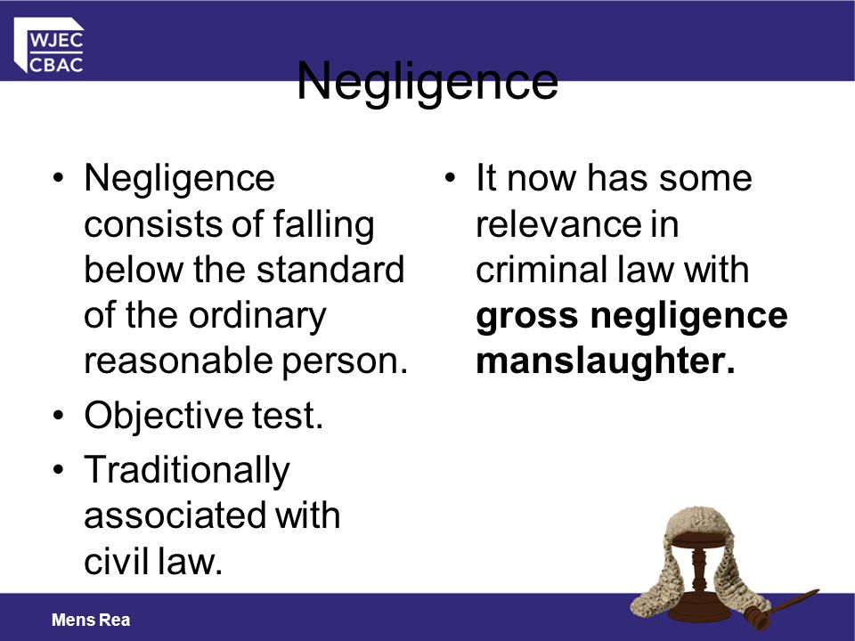 Negligence Negligence consists of falling below the standard of the ordinary reasonable person. Objective test.