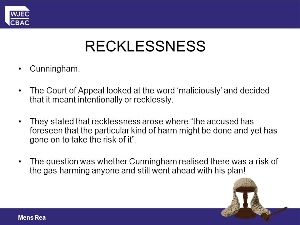 RECKLESSNESS Cunningham.