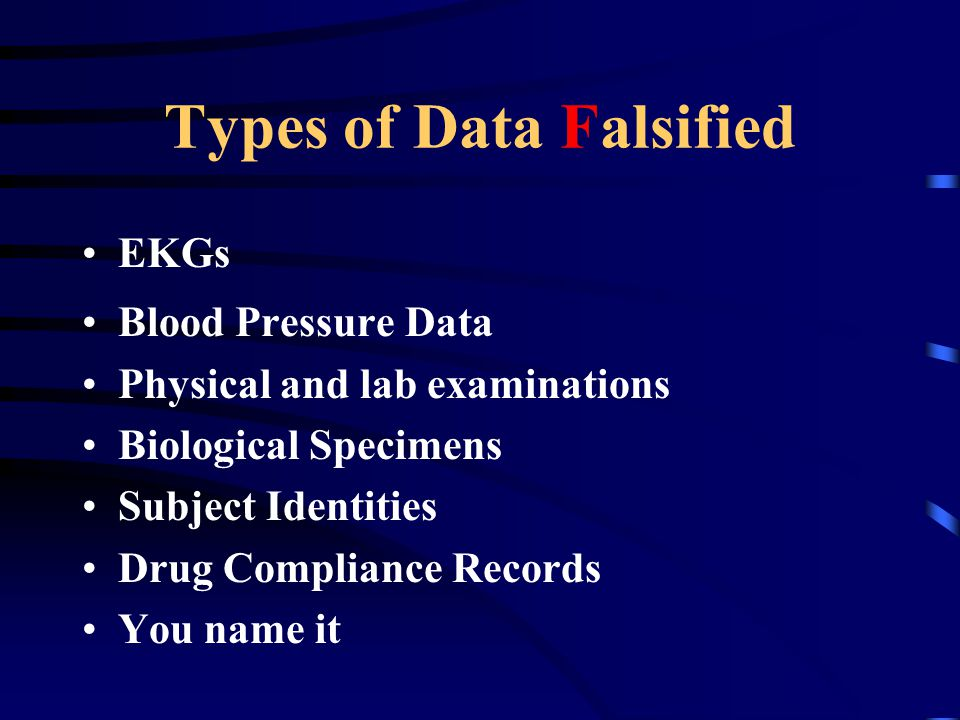 Types of Data Falsified