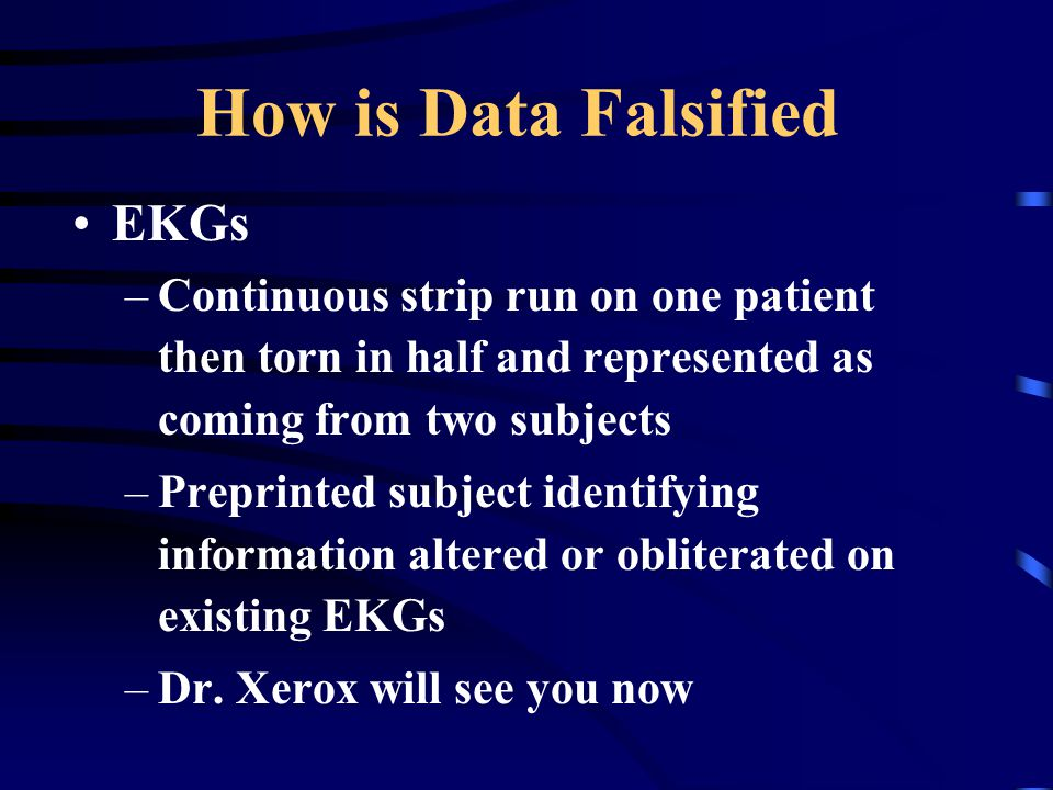 How is Data Falsified EKGs