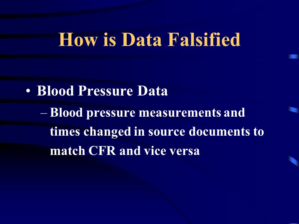 How is Data Falsified Blood Pressure Data