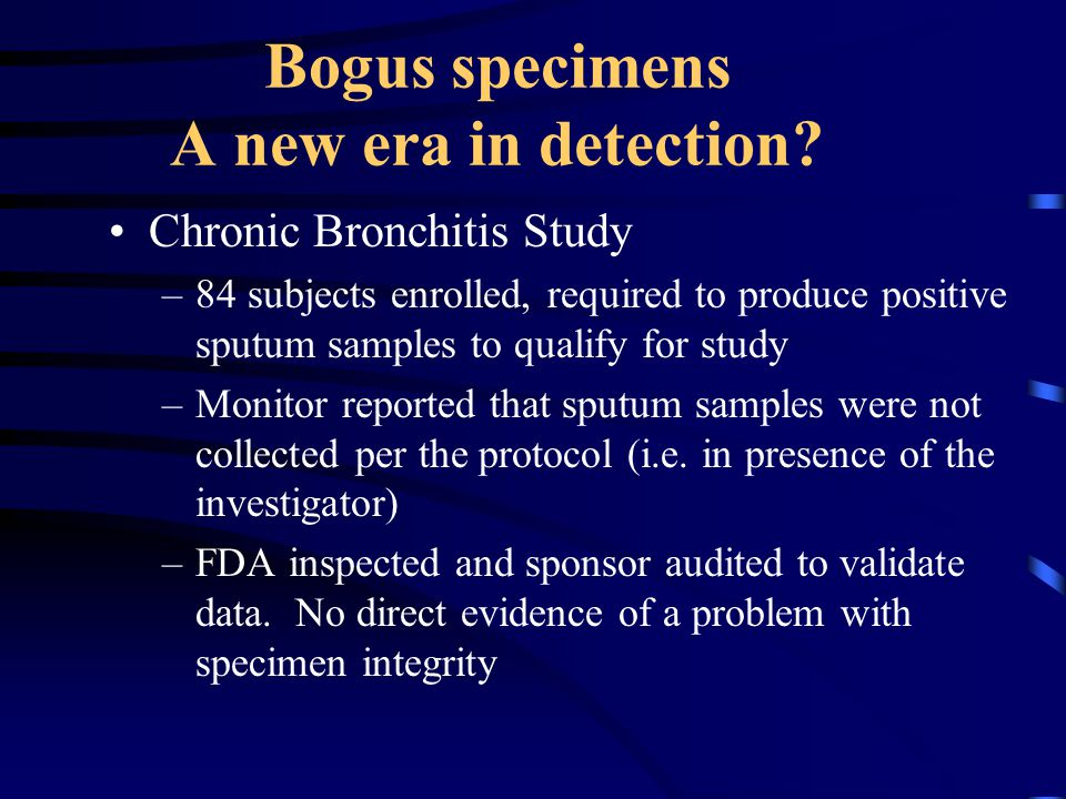 Bogus specimens A new era in detection